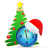 Vector clipart: Cap, clocks and fir tree