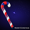 Vector clipart: Christmas cane and flag