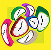 Vector clipart: deformed color clocks