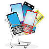 Vector clipart: set of mobile phones in the shopping cart