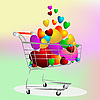 Vector clipart: Color hearts in the shopping cart