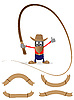 Vector clipart: Cowboy with whip and ribbons