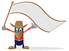Vector clipart: Cowboy and flag