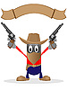 Vector clipart: Cowboy and revolvers
