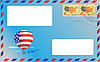 Vector clipart: blue envelope with US postage stamps