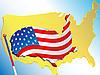 Vektor Cliparts: Flagge und Karte USA