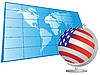 US flag as globe and world map