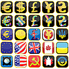 Icons von Flaggen und Geld