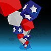 Vector clipart: U.S. Flag in the form of cubes