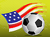 Vector clipart: Flag of USA and soccer ball