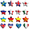 Vector clipart: Flags in the form of stars and hearts