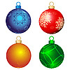 Vector clipart: Four color Christmas balls