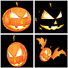 Vector clipart: Four Halloween pumpkins