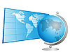 Vector clipart: Globe and world map