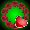 Векторный клипарт: Зеленый фон и розы