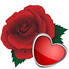 Vector clipart: Heart and rose