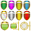 Vector clipart: Shields and ribbons
