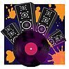 Vector clipart: Loudspeaker and vinyl disk