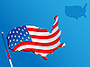 Vector clipart: Map and flag USA
