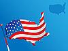Векторный клипарт: Карта и флаг США