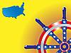 Векторный клипарт: Карта США и рулевого управления
