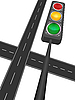 Vector clipart: Motorway and traffic light