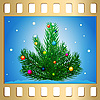 Vector clipart: New Year`s tree on frame