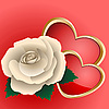 Vector clipart: Rose and two hearts
