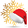 Vector clipart: Snowflake and Christmas hat