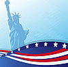 Vector clipart: Statue of Liberty and US flag