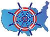 Векторный клипарт: Рулевое колесо и карта