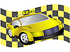 Vector clipart: Taxi and flag