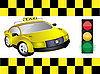 Vector clipart: Taxi and traffic light