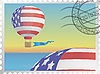 Vector clipart: balloon on postage stamp