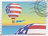 Векторный клипарт: Воздушный шар на почтовой марке