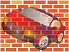Vector clipart: The car and wall