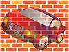 Векторный клипарт: Автомобиля и стеной