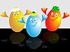 Three cheerful eggs