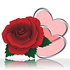 Vector clipart: Two hearts and rose