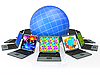 Globe and laptops | Stock Illustration