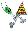 Alien with cake | Stock Vector Graphics
