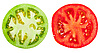 Green and red tomato slices | Stock Foto