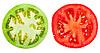 Zielone i czerwone plastry pomidora | Stock Foto