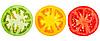 Zielony, czerwony i żółty plasterek pomidora | Stock Foto