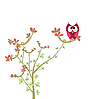 Vector clipart: owl on brunch with flowers