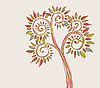 Vector clipart: stylized tree with multicolor leaves