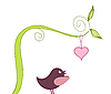 Vector clipart: cute bird and heart
