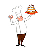 Vector clipart: young chef with cake