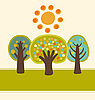 Vector clipart: trees and sun