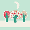 Vector clipart: cute trees in the night